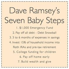Dave Ramsey's Seven Baby Steps! Good reminder! Zack and I are going through his Financial Peace University right now and loving it!