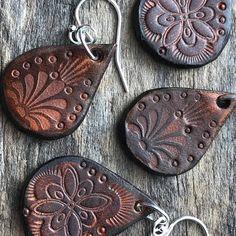 Hand Tooled Leather Earrings Petite Teardrop Leather