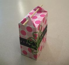 Hand made pink and white spot gift box with Spellbinders die cut embellishments.  A piece of kebab stick is used for the closure.  #GryphonArt #Gift Boxes