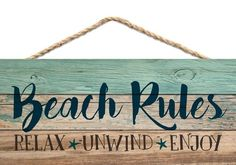 Graham Dunn Beach Rules Relax Unwind Enjoy Weathered 5 x 10 Wood Plank Design Hanging Sign - Beachfront Decor Beach Cottage Style, Coastal Style, Coastal Decor, Coastal Living, Beach Wall Decor, Beach House Decor, Beach House Signs, Outdoor Beach Decor, Pool Signs