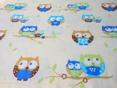 cotton baby fabric owls fabric colorful owls by sarteBoutique