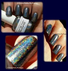 "The Daily Quote Collection from Liquid Sky Lacquer is beyond beautiful and the formula flawless, as always. This is one coat of ""Believe"" over a black base. The holo is wonderful, and pops inside and outside both!"