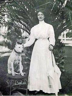 Lady and bull terrier, 1920s