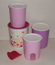 Tupperware Set of 4 Canisters Pink Purple Butterflies *** Continue to the product at the image link-affiliate link. #FoodStorage