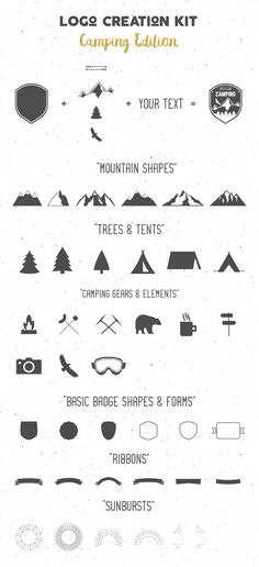 Friends! Let's create countless logos, badges or other artworks with this Free Logo Creation Kit Camping Edition. The Kit comes with 3 Premade Logo Templates with Editable texts and 6 Vector Textures. It includes 35+ Elements of Mountain Shapes, Ribbons, Badge Forms, Sunbursts, Trees, and a lot more. Enjoy!