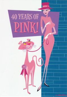 40 Years Of Pink (Panther) Modern Graphic Design, Graphic Design Illustration, Illustration Art, Illustrations, Panther, Panthères Roses, Pink Panter, Gothic Wallpaper, Tiki Art