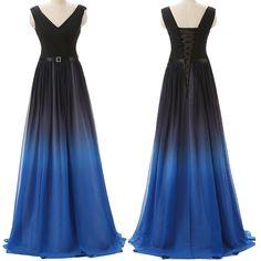 Lovely Black and Blue Handmade Gradient Prom Dresses,
