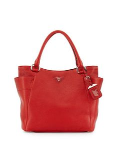 V2B97 Prada Daino Side-Pocket Tote Bag, Red (Rosso)