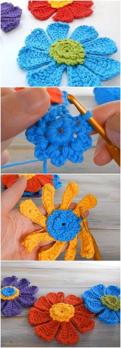 Crochet Flower Power Bloom Step By Step #crochetflowers