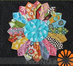 colorful dresden plate quilt, from piecenquilt
