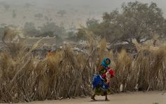A woman carries washed clothes away after allowing them to dry on a brush fence in Mondo, a desert village in the Sahel belt of Chad, April 19, 2012.