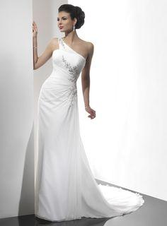 Gorgeous one shoulder A-line chapel train bridal gowns(         for Brandi)