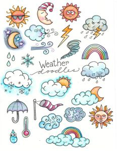 Marie Browning here with some weather doodles. For this post, I'm… Hi Everyone! Marie Browning here with some weather doodles. For this post, I'm presenting some easy Weather Journal Doodles for your planners, journals, tags a Bullet Journal Ideas Pages, Bullet Journal Inspiration, Bullet Journals, Doodle Inspiration, Doodle Drawings, Easy Drawings, Drawing Sketches, Drawing Ideas, Cute Doodles