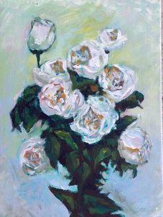 Original Acrylic Painting White Rose 16x12 by JennyYaoCanvas