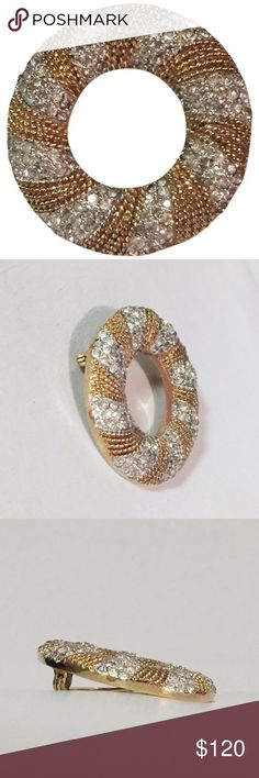 Vintage Panetta disc brooch pave strass crystals Vintage Panetta disc circle brooch with diamond like crystals Panetta Jewelry Brooches