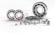 Industrial image with ball bearings on white background Stock Photo - 13872314