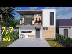 Small Modern House Plans, Small House Design, Modern House Design, Architect Design House, House Construction Plan, Building A Container Home, Home Design Plans, Simple House, Planer
