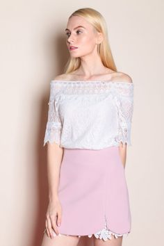 3be58365eadd Off Shoulder Lace Top (White)  32 Romance