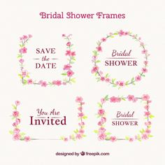 Decorative wedding frames with pink flowers Free Vector