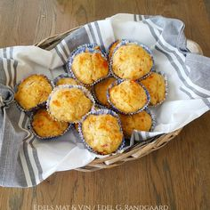 Edels Mat & Vin: Ost- og skinkemuffins ♥ A Food, Muffin, Breakfast, Wine, Morning Coffee, Muffins, Cupcakes