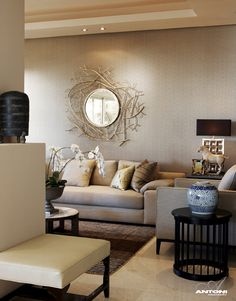 Inspiring Design Details Showcased By Ave Marina 3 Residence In South Africa Mirror Wall DecorationsLiving Room