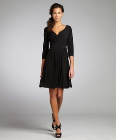 Suzi Chin black stretch jersey knit draped surplice dress | BLUEFLY up to 70% off designer brands