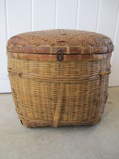 Vintage Woven Asian Basket With Lid and Metal Hardware by PortlandRevibe on Etsy
