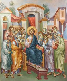 Our Lord with the Twelve (St. Matthias instead of the traitor) Byzantine Icons, Catholic Art, Angels And Demons, Orthodox Icons, Christian Art, Architectural Elements, Fresco, Christianity, Creations
