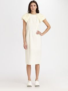 Comme des Garcons white dress with silk/wool sleeves. So cute!!