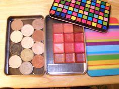 DIY makeup palette using giftcard tins