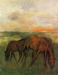 Two Horses in a Pasture via Edgar Degas Size: 45.1x35.5 cm Medium: oil on canvas