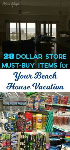 28 Dollar Store Must-Buy Items for Beach House Vacation - Read this before you pack for the beach! 28 Dollar Store Must-Buy Items for Beach House Vacation w - Beach Vacation Meals, Packing List For Vacation, Beach Meals, Florida Vacation, Vacation Ideas, Beach Travel, Destin Florida, Beach Vacation Packing List, Myrtle Beach Vacation Rentals