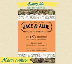 Co-ed / couples wedding shower invitation in camo & lace -  perfect for a Hunt Is Over themed celebration.
