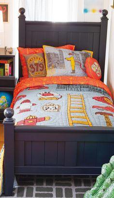 Boys Bedding: Firefighter Themed Bedding Set in Boy Bedding Boys Bedding Sets, Bedding Sets Online, Firefighter Bedroom, Navy Bedding, Vintage Room, Kid Beds, Boy Room, Truck Bedroom, Fire Truck