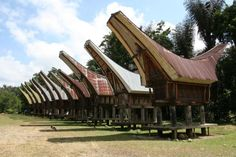 Tongkonan - traditional homes in Toraja, Indonesia;  photo by Elma Roux