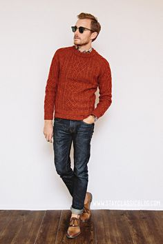 cable-knit crew-neck sweater #menswear #fall