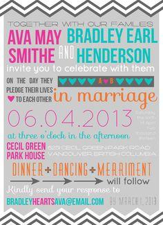 Modern Typography Wedding Invitation (Custom, DIY, Digital, Chevron). via Etsy.
