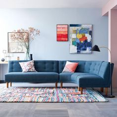 Colourful living room with curved sofa
