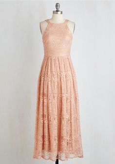 With Style and Lace Dress in Peach. Flaunt your unparalleled elegance in this dusty-peach maxi dress from Coconinno by Eva Franco. #gold #prom #modcloth