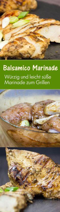 Karamellisierte Hähnchenbrust in Balsamico Marinade:Die Marinade verwandelt dein zartes und neutrales Hähnchenfleisch in eine Geschmacksexplosion sowohl in der Pfanne als auch auf dem Grill.