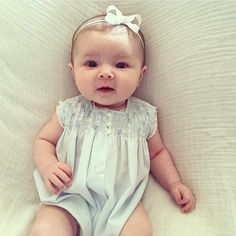 We love this baby girl in blue! Little Miss May is dressed up in her Mommy's vintage Feltman Brothers bubble! Isn't she a dolly?! @lanemcknight http://feltmanbrothers.com