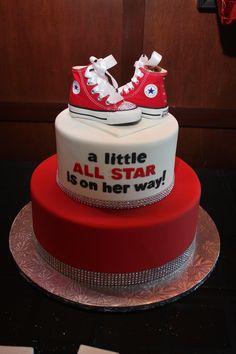 "All Star Baby ""Girl"" Shower Cake w/bling and red Converse Chucks (red, black, white)"