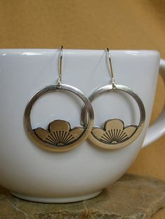 Silver Earrings  Hoop Earrings  Tribal by StoneWearDesigns on Etsy