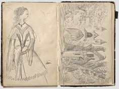 """""""Child's drawing book of the later Empress Elisabeth of Austria, Duchess in Bavaria. From the estate of the Countess Camilla von Otting, her governess and courtlady"""""""