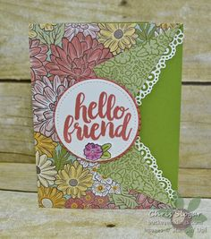 Hello Collar Fold by Chris Slogar - Cards and Paper Crafts at Splitcoaststampers Friendship Cards, Pocket Cards, Birthday Images, Folded Cards, Paper Design, Stampin Up, Balloons, Card Making, Presents