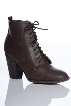 Bewitching Woman Faux Leather Pointed Toe Lace Up Boooties - Brown from Breckelles at Lucky 21