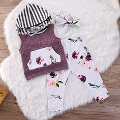 Amazon.com: Infant Baby Kids Girl Flower T-shirt Hoodie Top+Pant+Headband 3pcs Outfits Set: Clothing