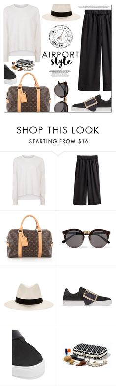 """Jet Set: Airport Style"" by monica-dick ❤ liked on Polyvore featuring Sweaty Betty, Louis Vuitton, Illesteva, rag & bone, Burberry, travel, airportstyle, polyvoreeditorial and travelinstyle"