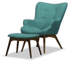 Blick Ducon Lounge Chair and Footstool miljä Upholstery Colour: Turquoise