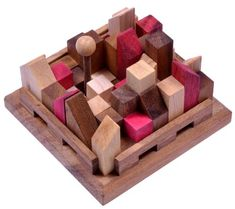 Puzzles & Geduldspiele 4 Knobelspiele im Set 3D Puzzle Holz Würfel Denkspiele Geduldspiele Geschenkbox